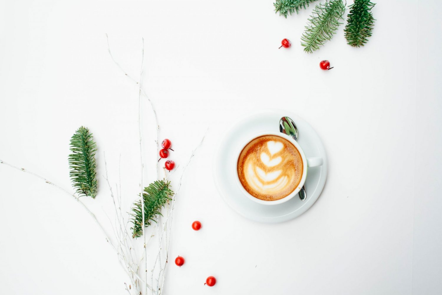 Coffee with Christmas branches