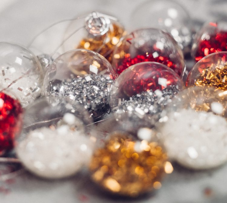 Christmas baubles with glitter inside
