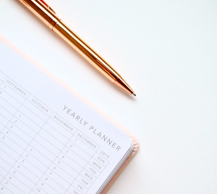 Yearly planner with gold pen